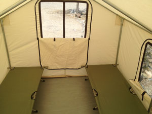 These Large Tent Cabins Have 4 Cots Setup Inside Bedding Not Included Can Fit Up To One Additional Cot For 5 Extra